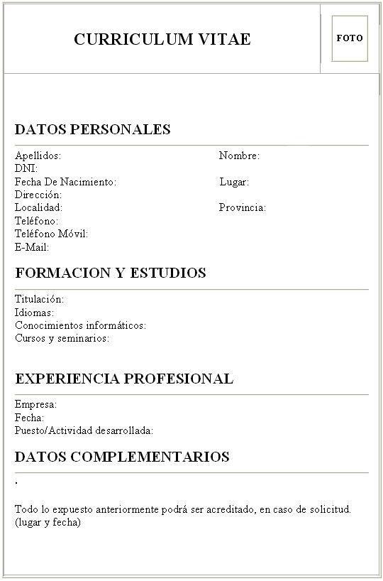 modelo currículum gratis básico
