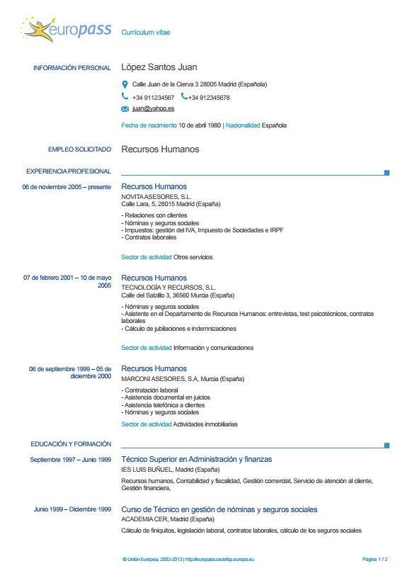 modelo currículum europeo rellenar