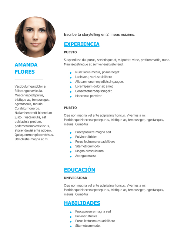 modelo currículum mujer