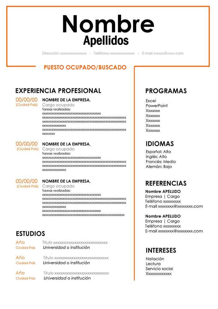 modelo currículum vitae básico word