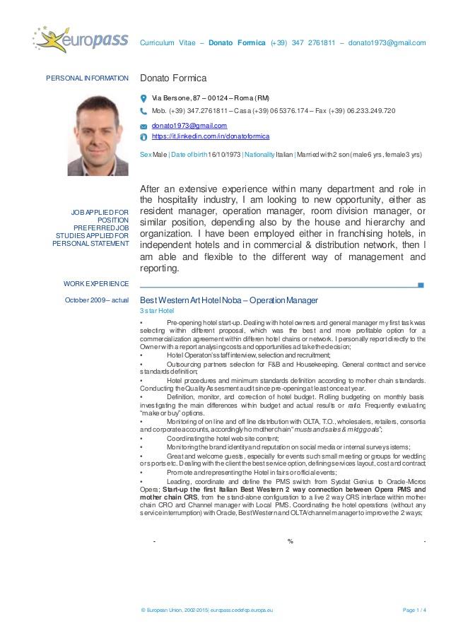 modelo currículum vitae europeo inglés