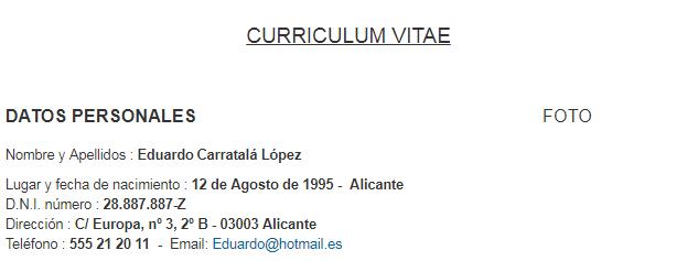 modelo currículum vitae paso 1