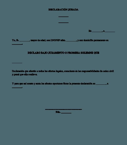 modelo declaración jurada para imprimir