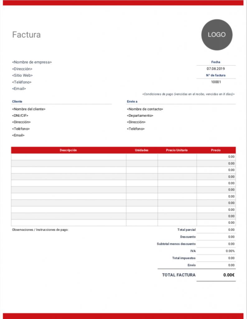 modelo factura en blanco para descargar e imprimir