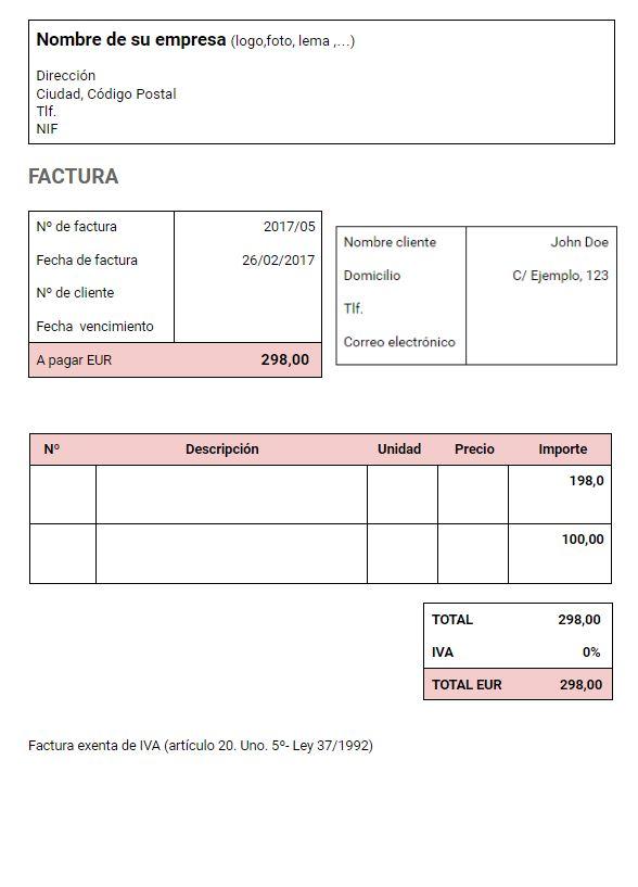 modelo factura para autónomo