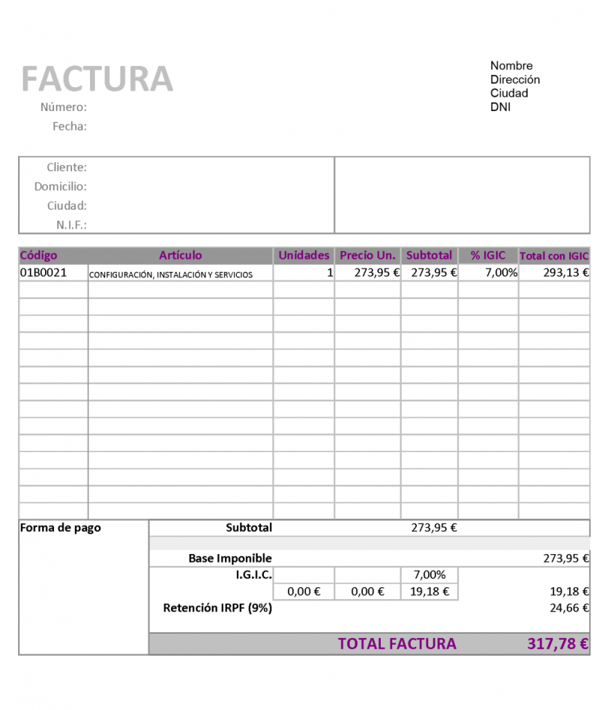modelo factura para trabajadores autónomos