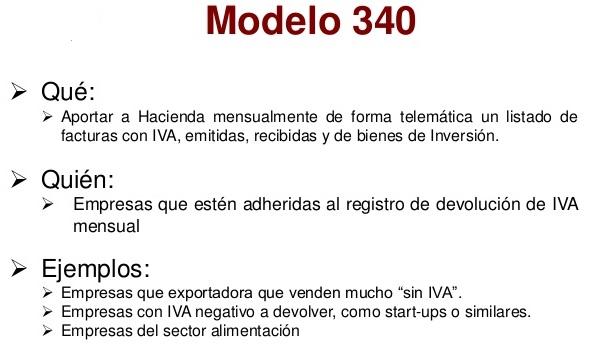 modelo 340 características
