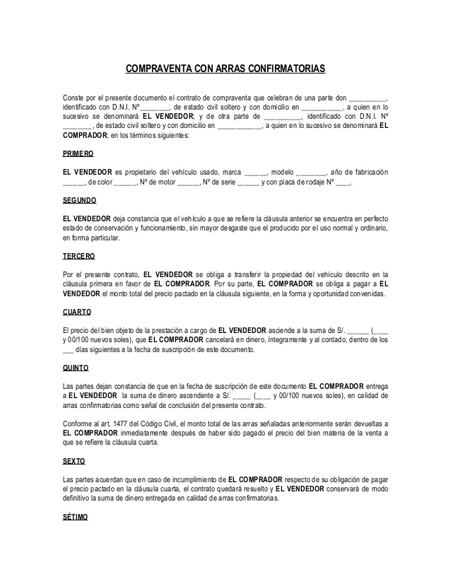 modelo contrato de arras confirmatorias compravnta