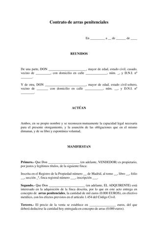 modelo contrato de arras penitenciales