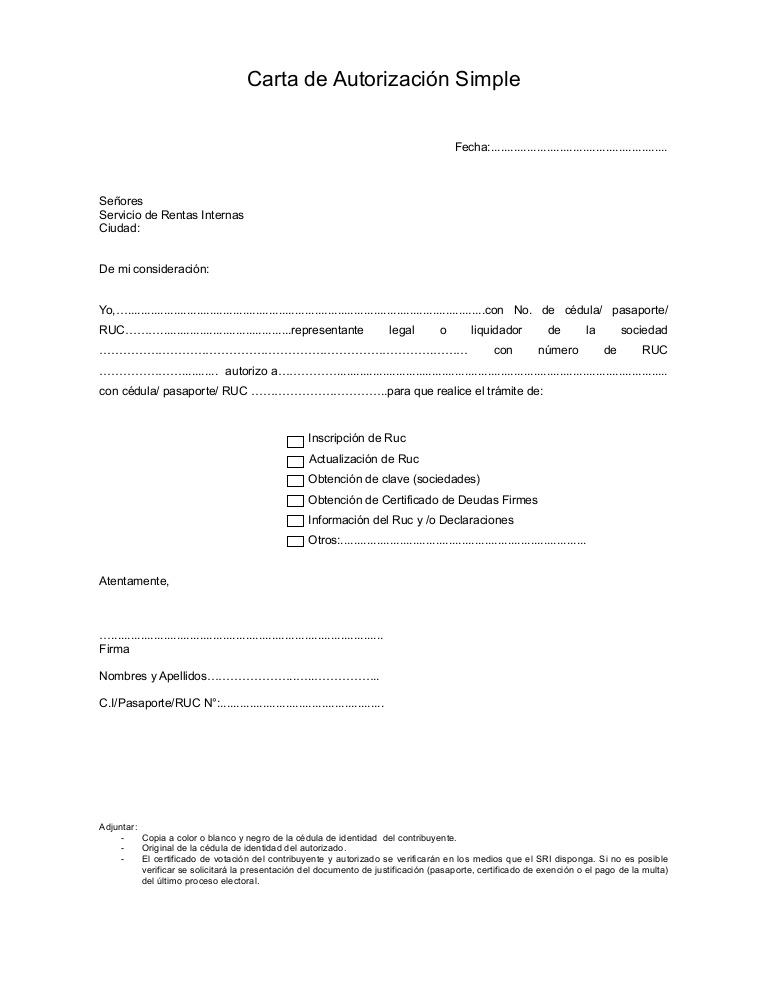 modelo de autorización trámites documentos