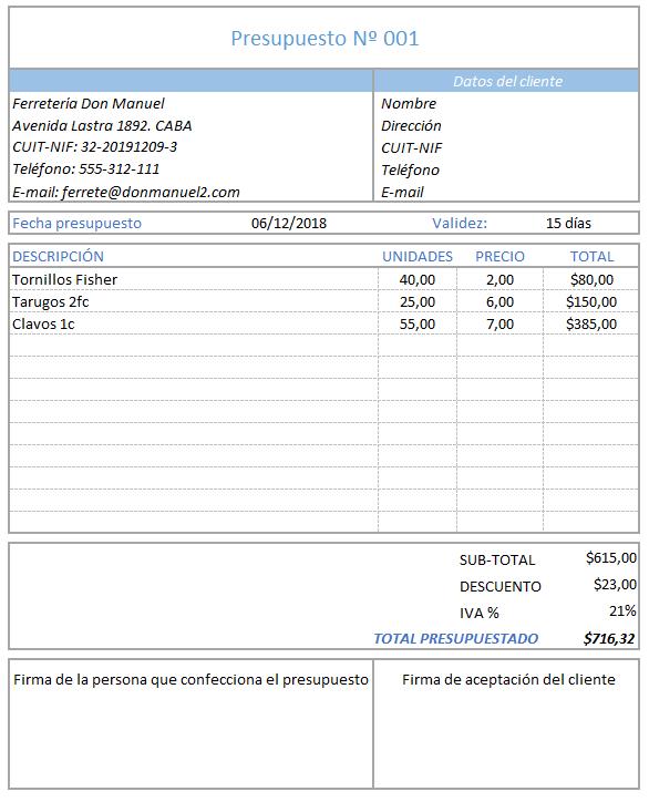 modelo presupuesto simple