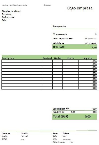 modelo presupuesto aspecto