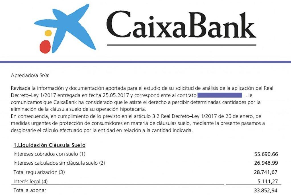 modelo reclamación cláusula suelo caixabank