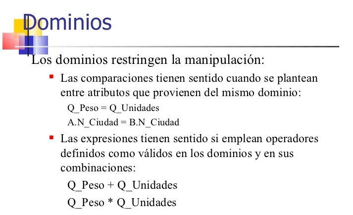 modelo relacional dominios
