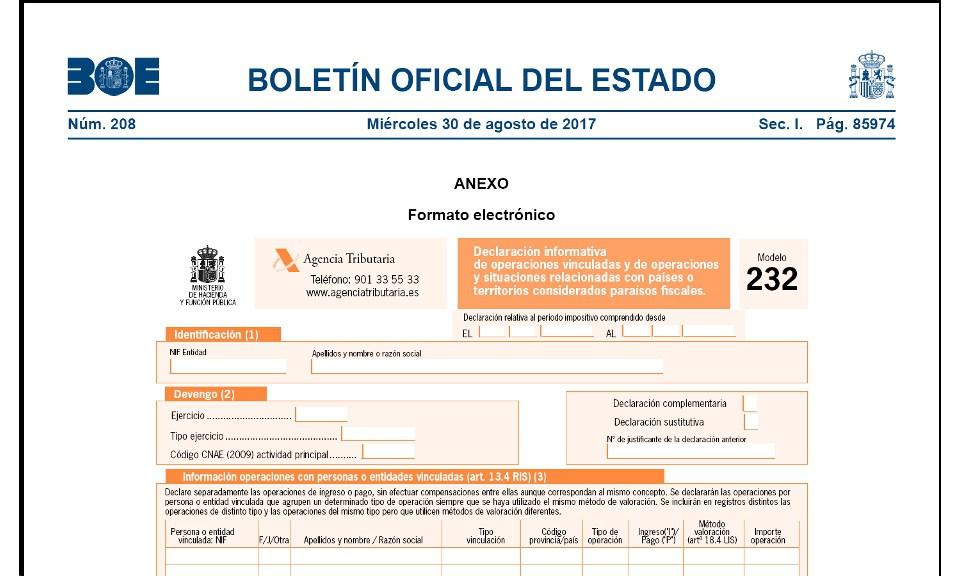 modelo 232 boletín oficial del estado boe