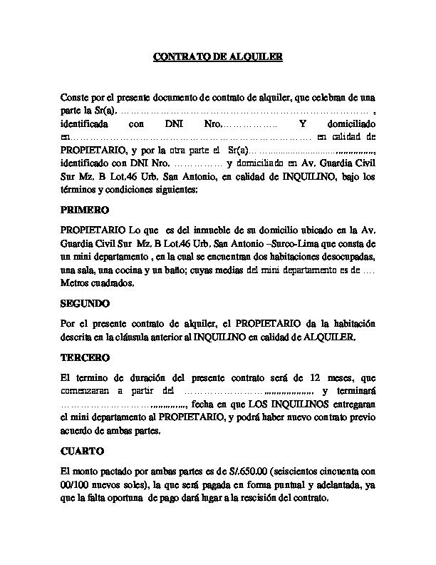 modelo contrato alquiler simple