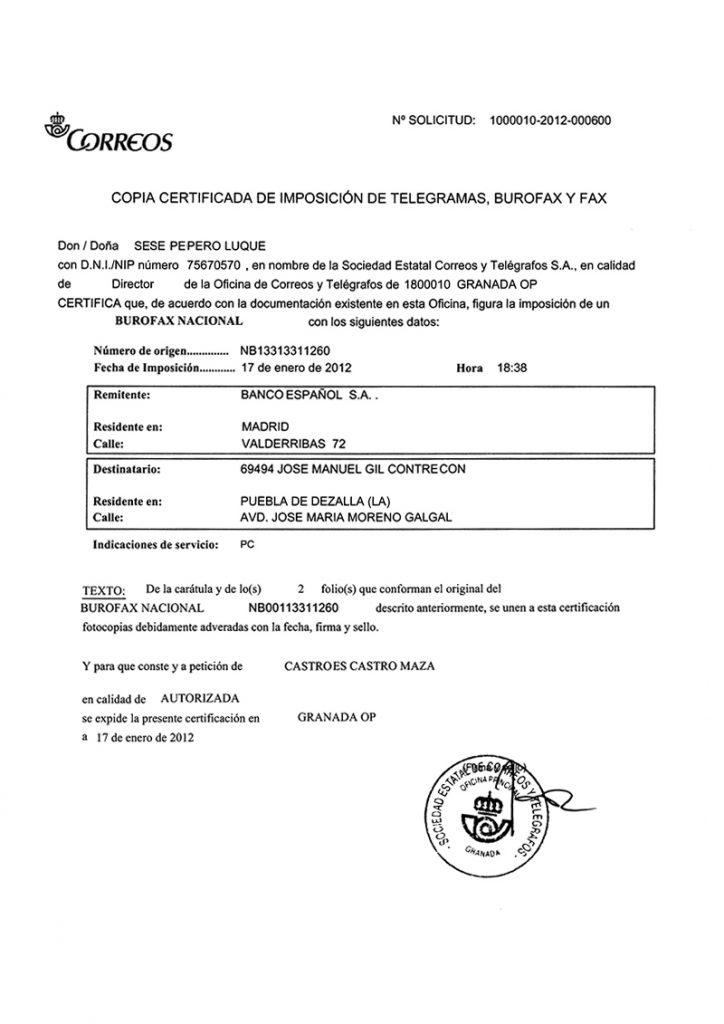 modelo burofax certificado