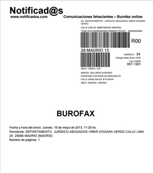 modelo burofax ejemplar relleno