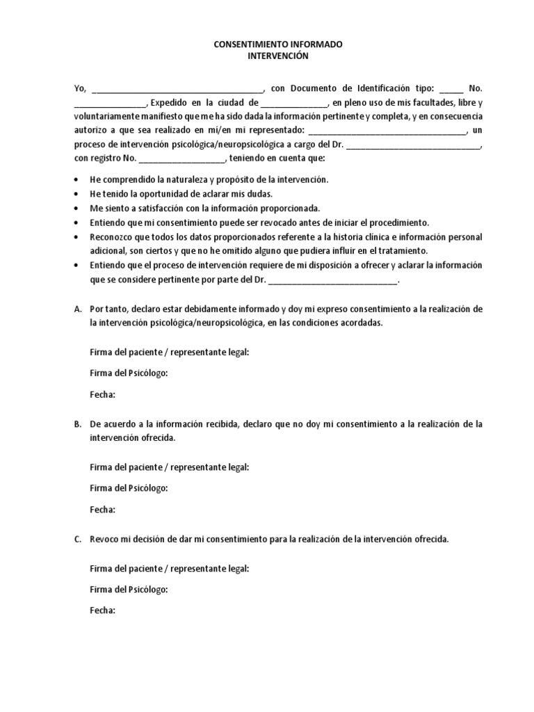 modelo consentimiento informado en paciente psicológico ejemplar