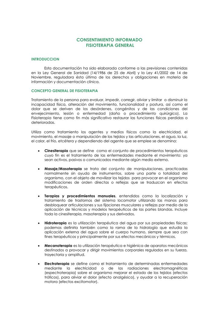 modelo consentimiento informado fisioterapia pasos