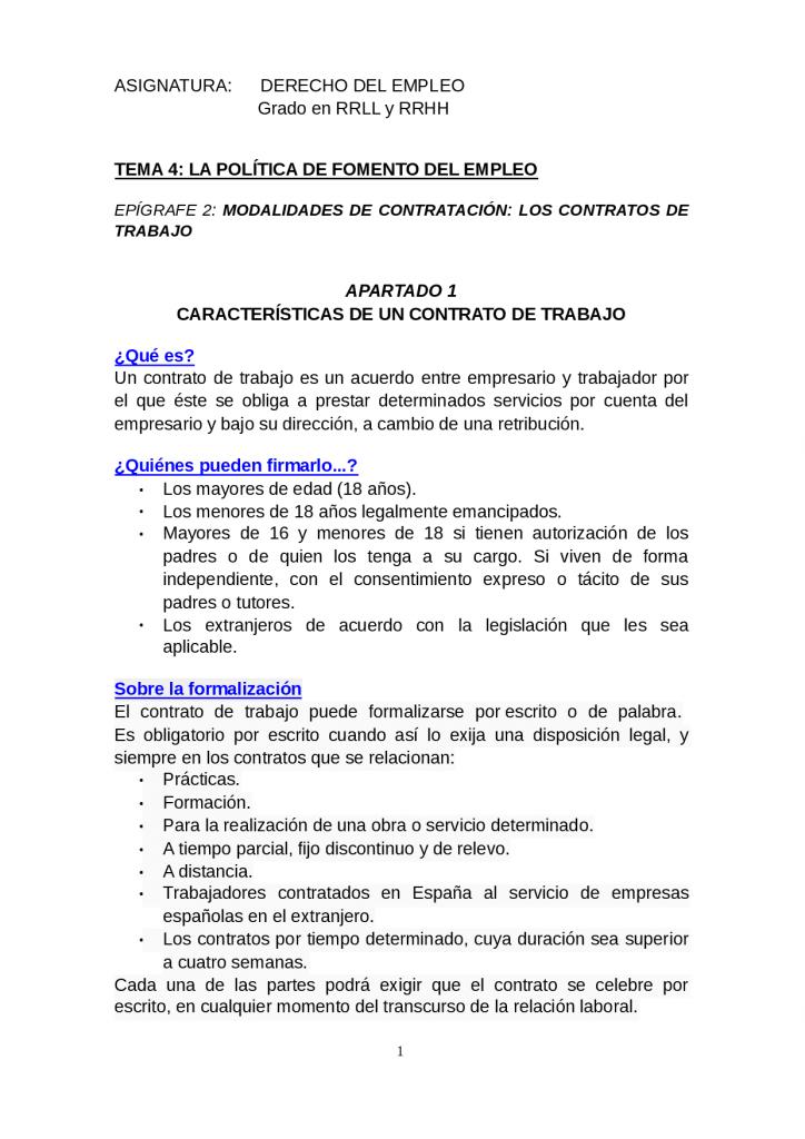 modelo de contrato de trabajo características