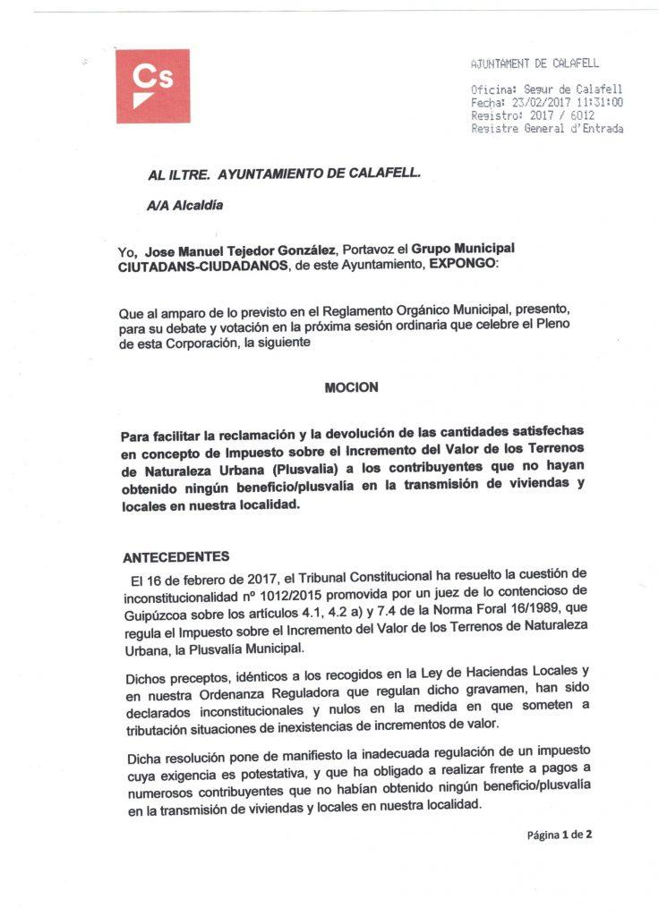 modelo reclamación plusvalía municipal ejemplar