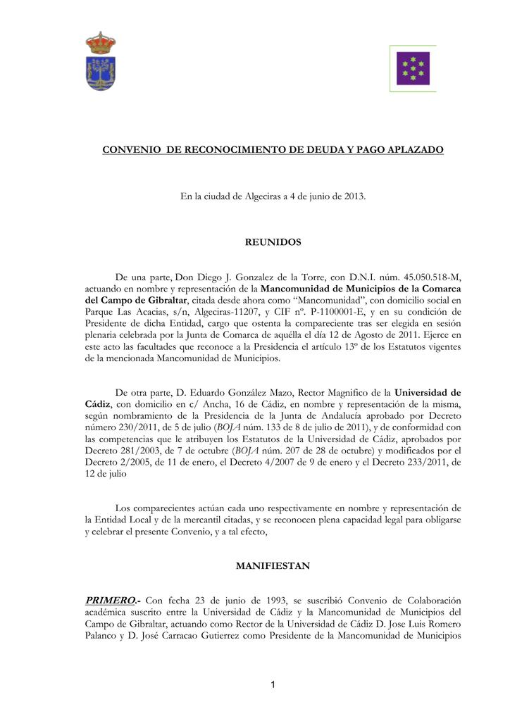 modelo reconocimiento de deuda ejemplo pago aplazado