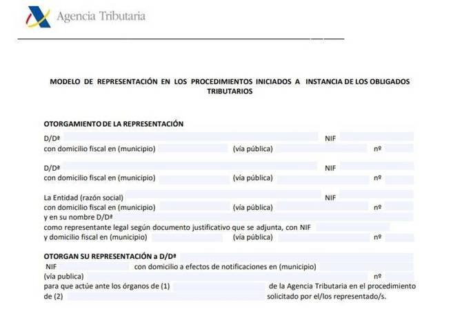 modelo representación aeat documento