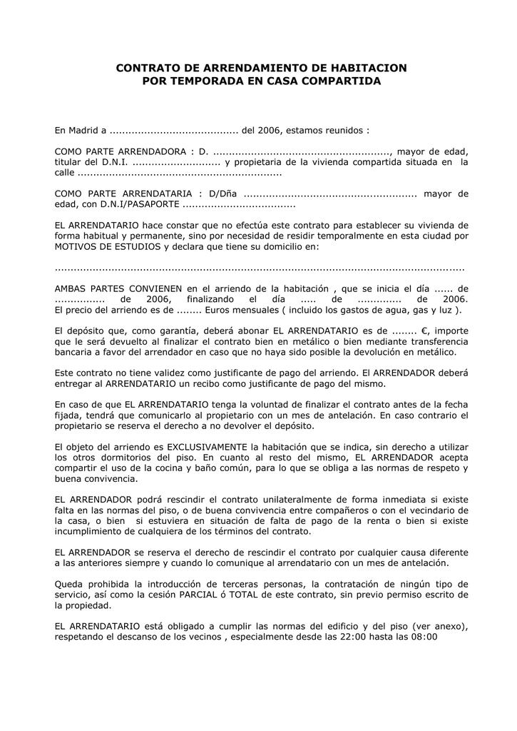 modelo contrato alquiler vivienda compartida imprimir