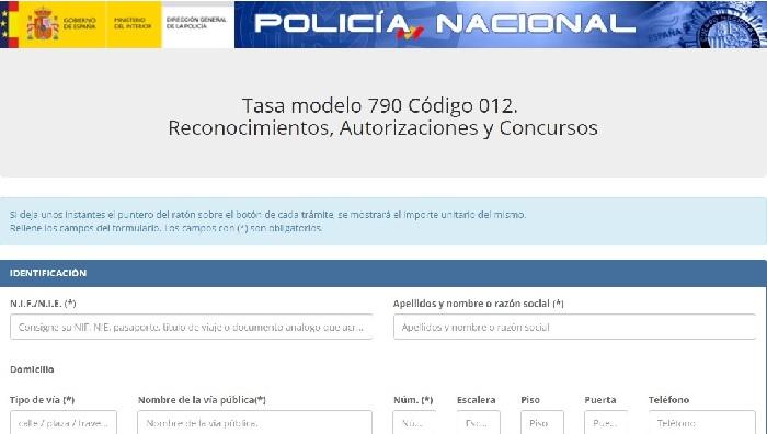 modelo de tasa policía nacional españa
