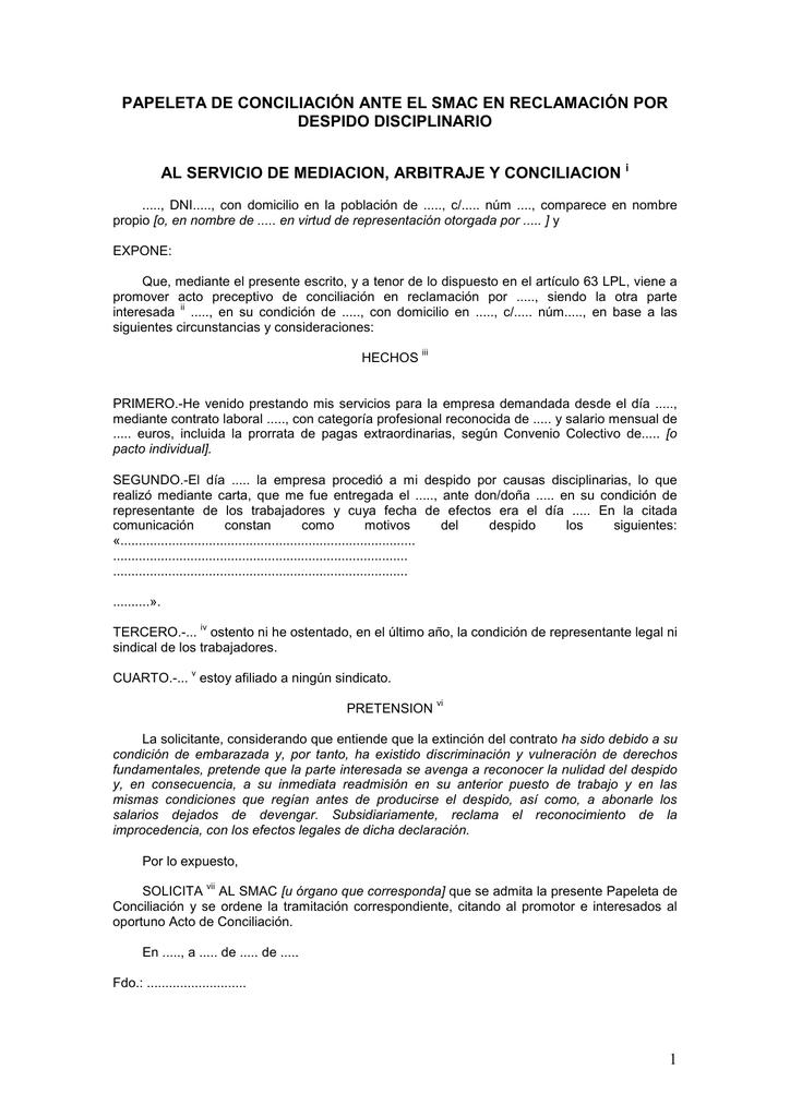 modelo papeleta de conciliación smac ejemplar