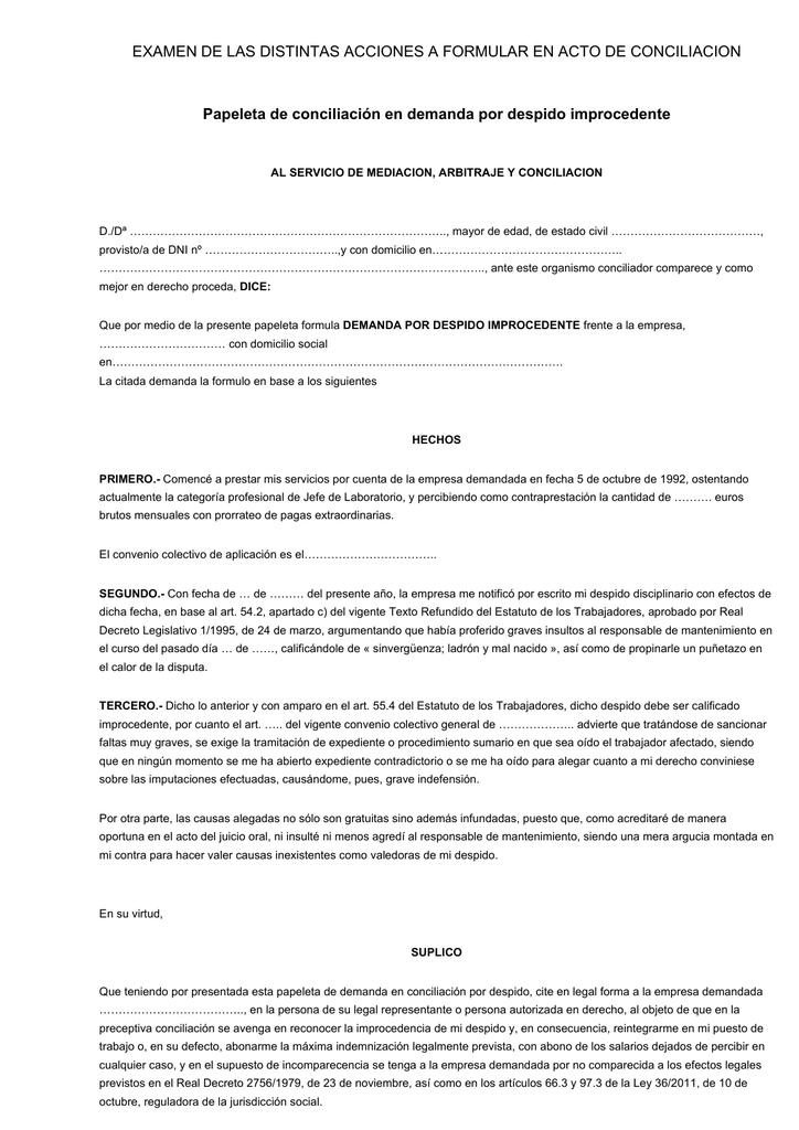 modelo papeleta de conciliación despido