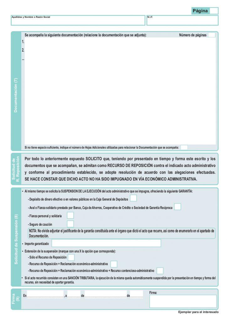 modelo recurso potestativo de reposición aeat página 2