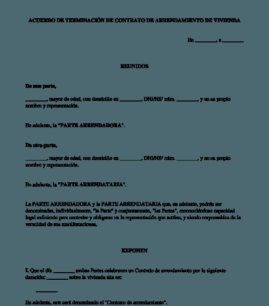 modelo rescisión contrato alquiler ejemplar vivienda