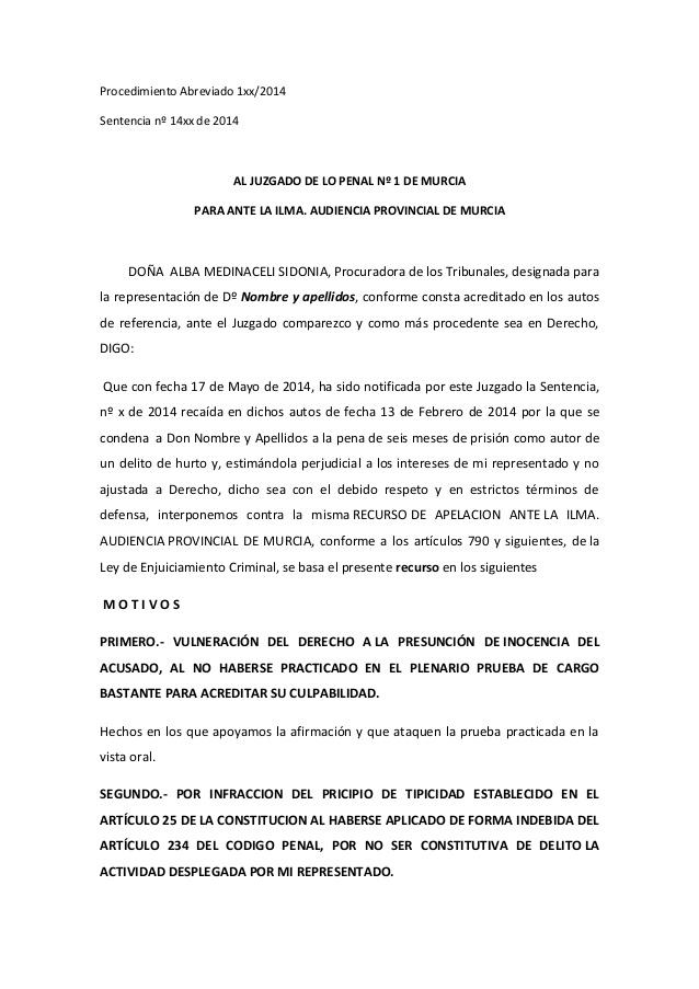 recurso de apelación penal modelo ejemplar